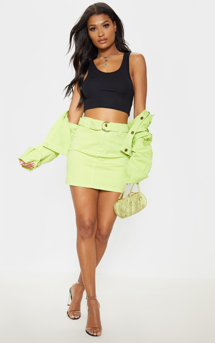 Neon Lime O Ring Belted Denim Skirt by Prettylittlething