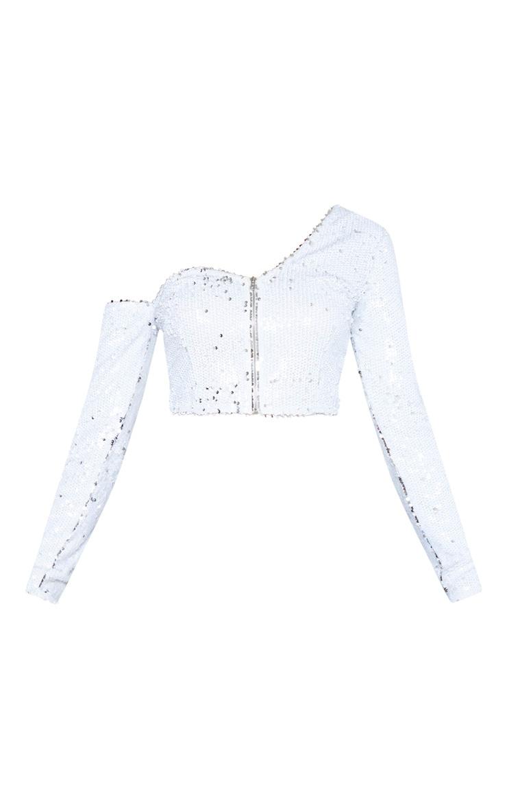 White Sequin One Shoulder Crop Top  3