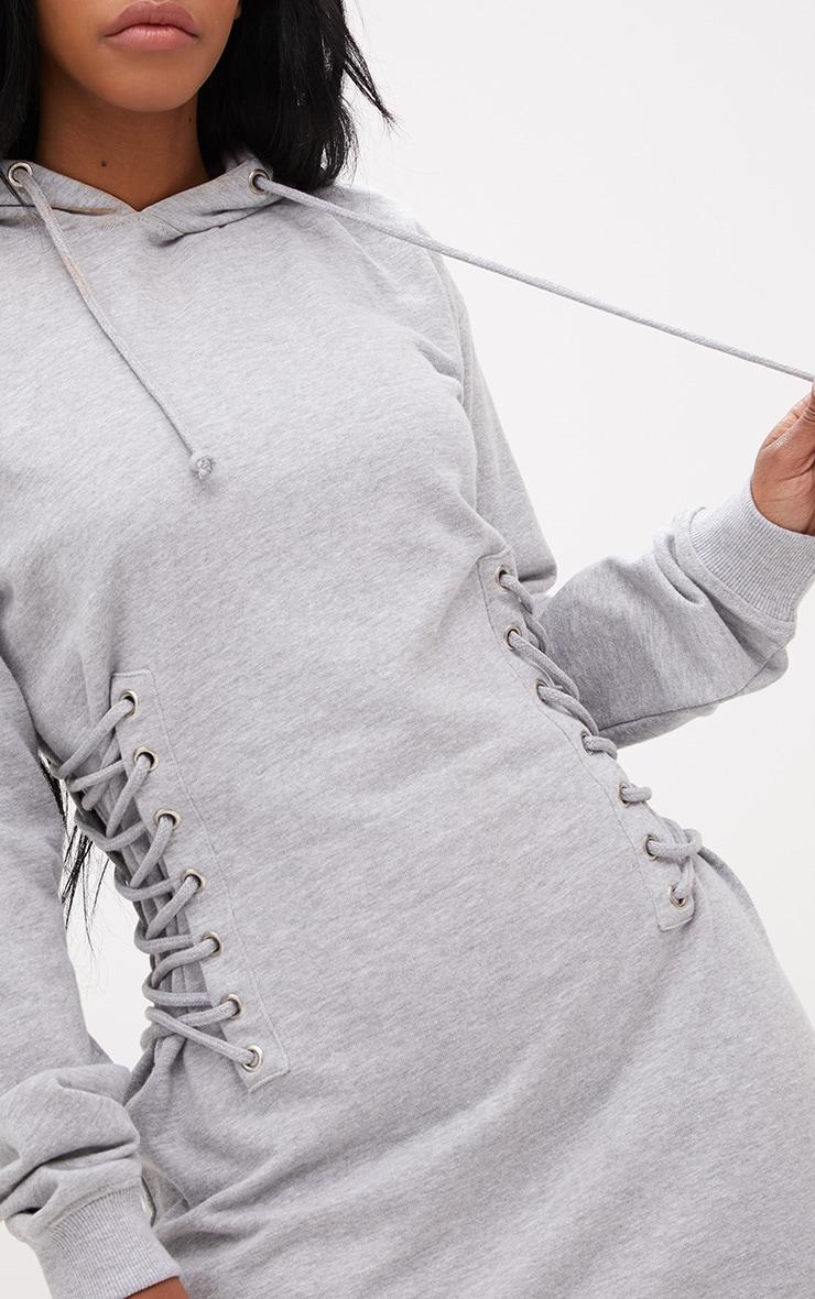 Shape Grey Hooded Lace Up Side Sweater Dress 5