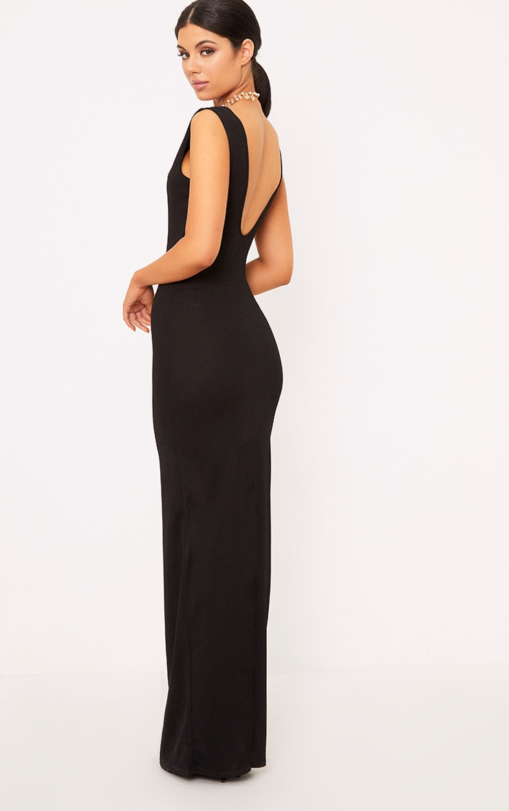 Flossie Black Plunge Maxi Dress 2