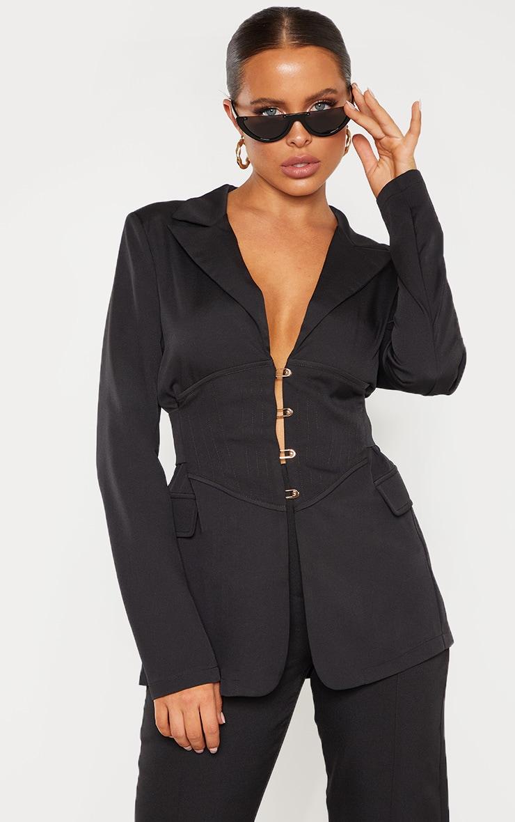 Black Corset Woven Blazer 1