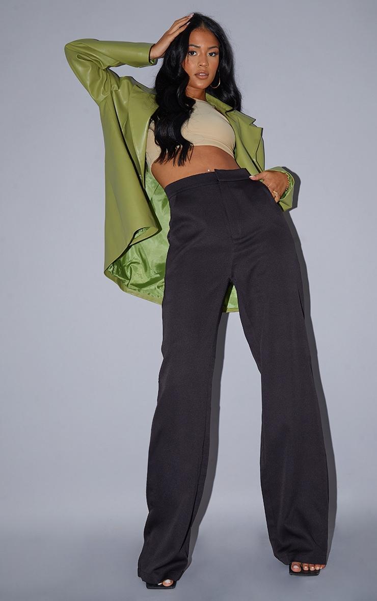 Tall Black Pocket Detail High Waisted Wide Leg Trouser 1