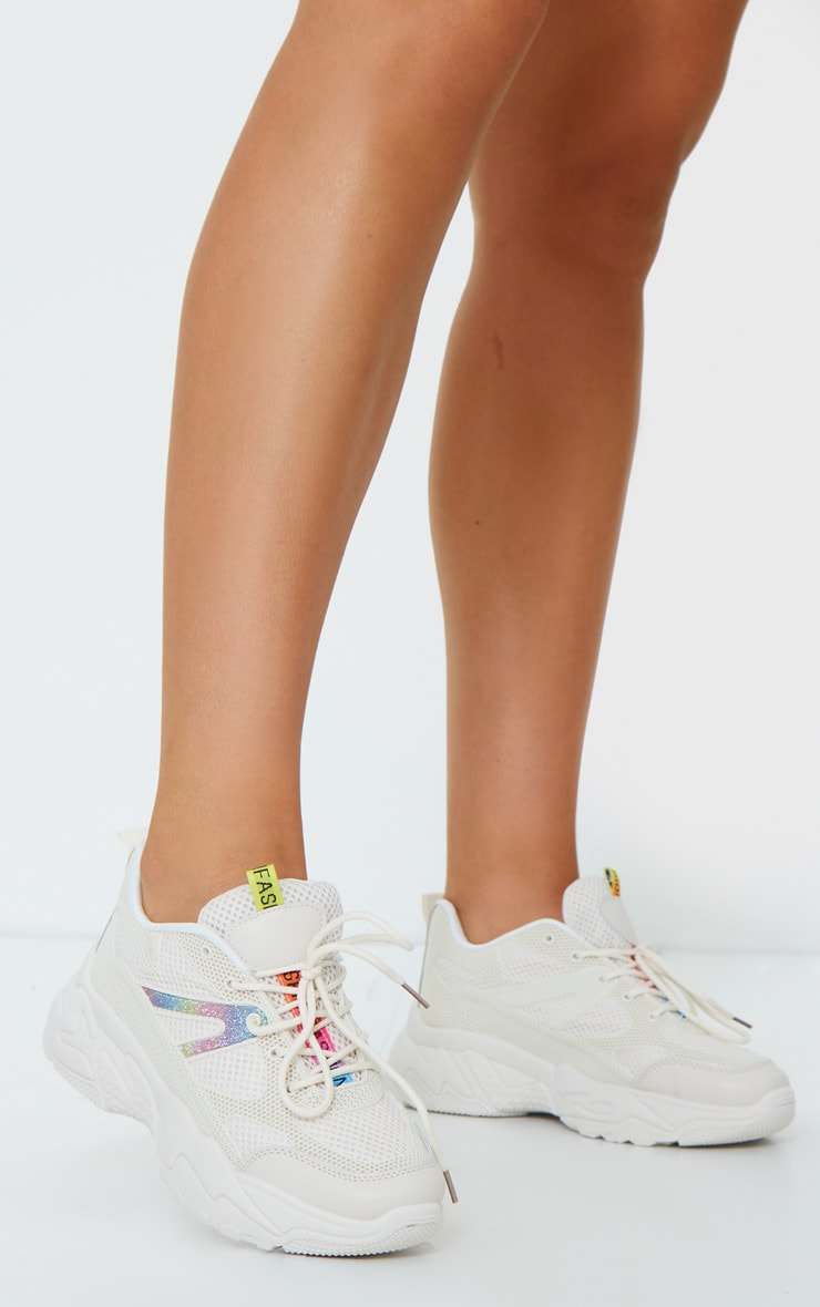Sand Chunky Retro Sole Contrast Fabric Detail Trainers 2