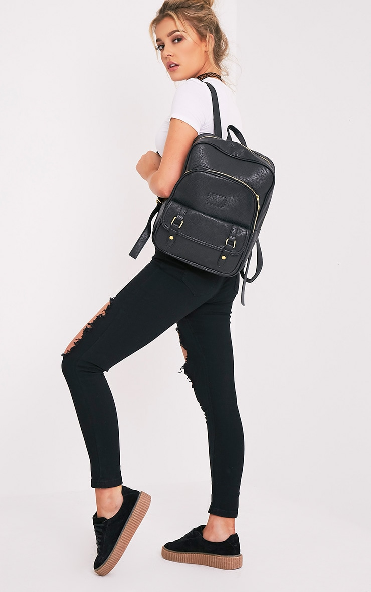 Yamkah Black PU Backpack 1