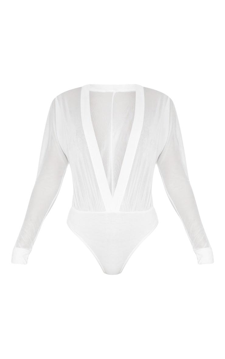 Yulia Cream Mesh Plunge Jersey Thong Bodysuit 3