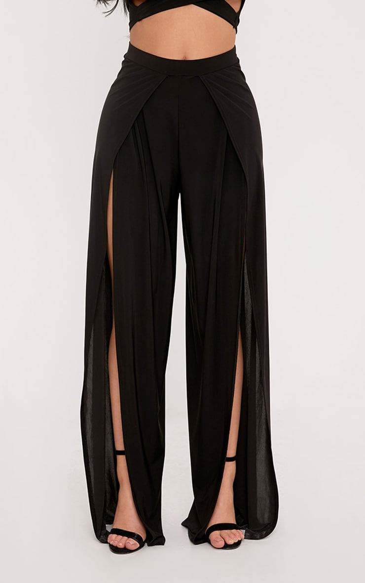 Shape Leticia Black Slinky Split Front Trousers  2