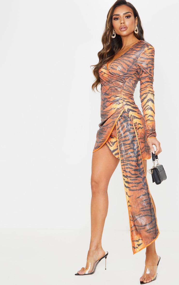 Orange Tiger Print Sequin Long Sleeve Drape Detail Bodycon Dress 4