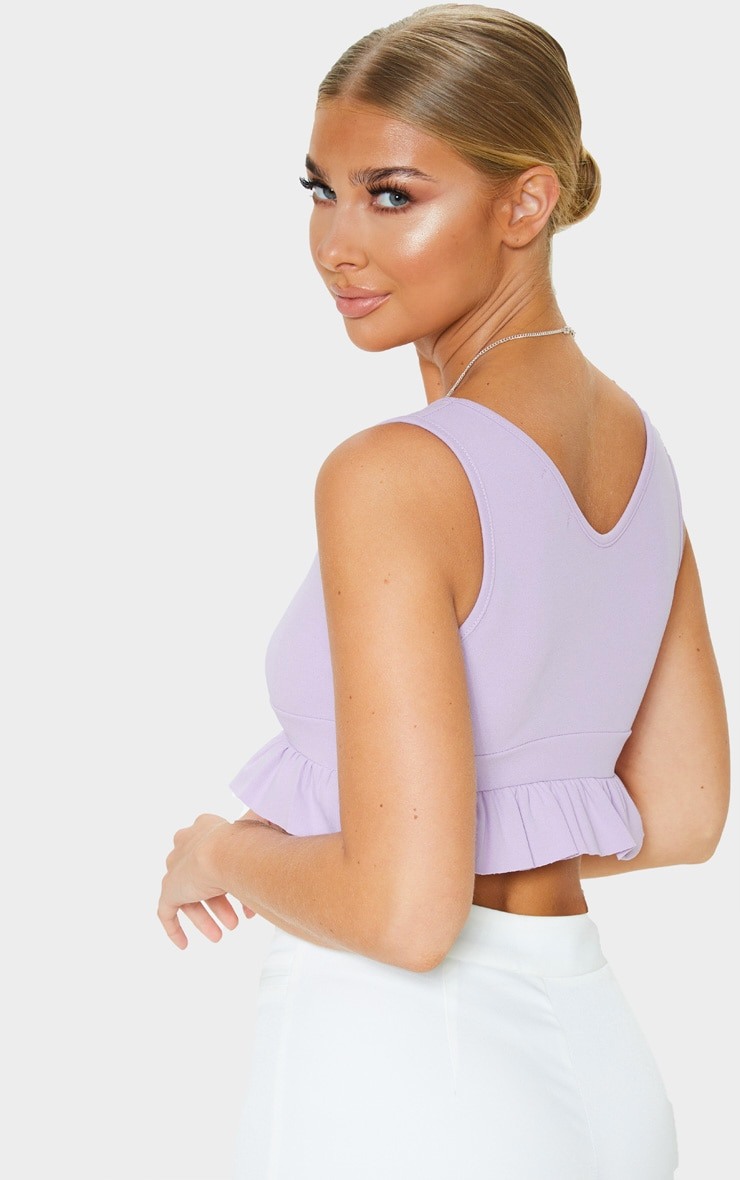 Lilac Plunge Sleeveless Frill Hem Crop Top 2