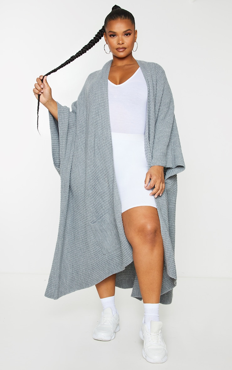 Plus Grey Chunky Knit 3/4 sleeve Wrap Cardigan 1
