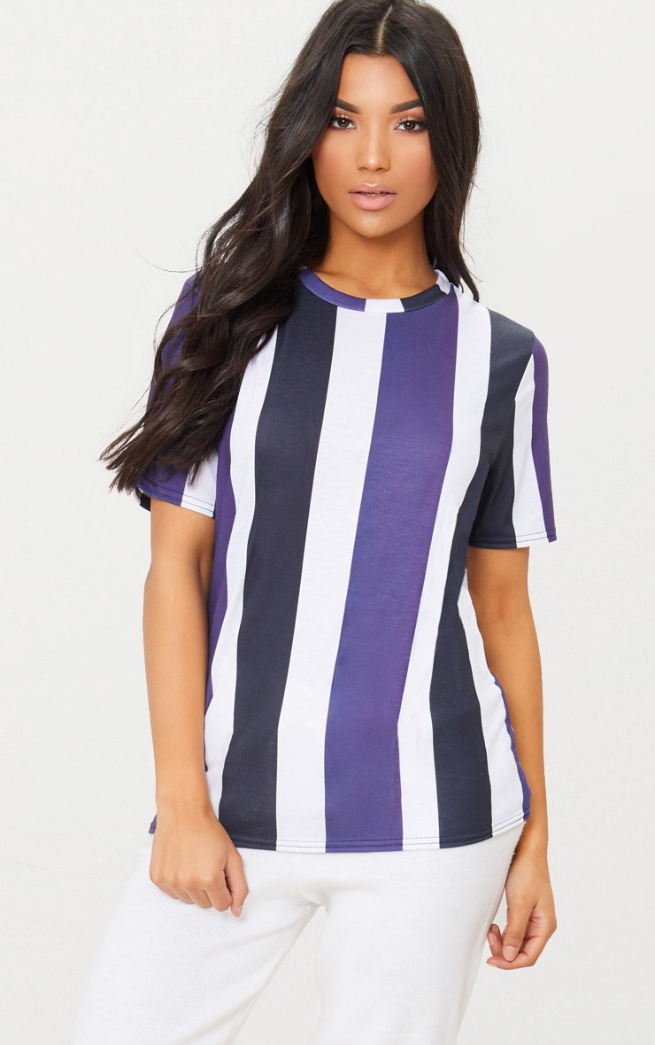 Black Multi Striped T Shirt  1