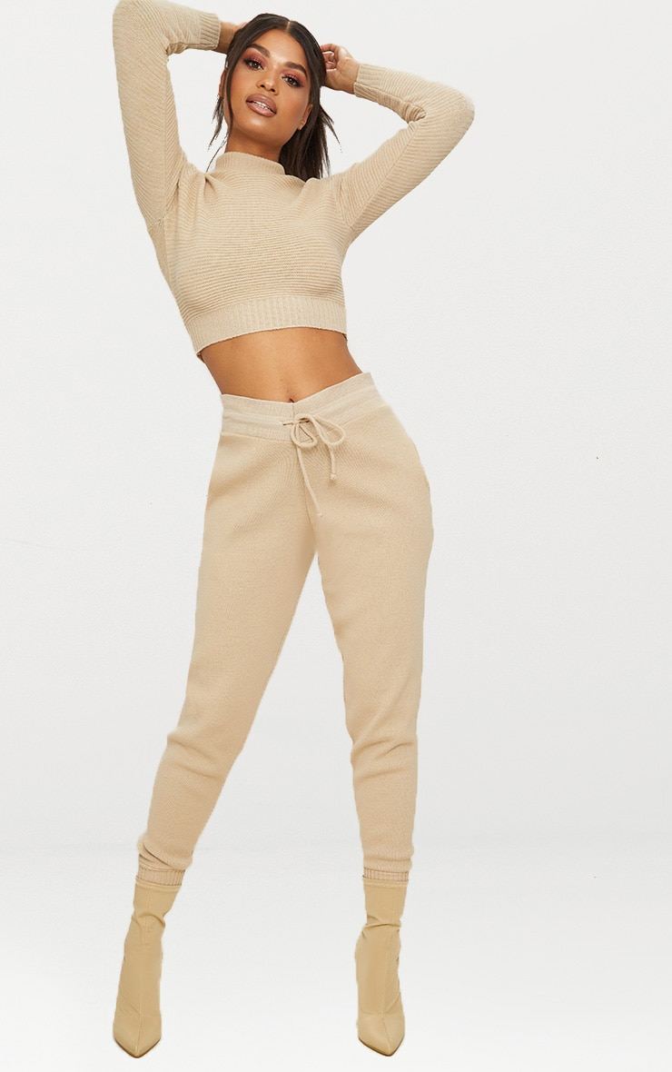 Stone Ribbed Cropped Knitted Sweater 4
