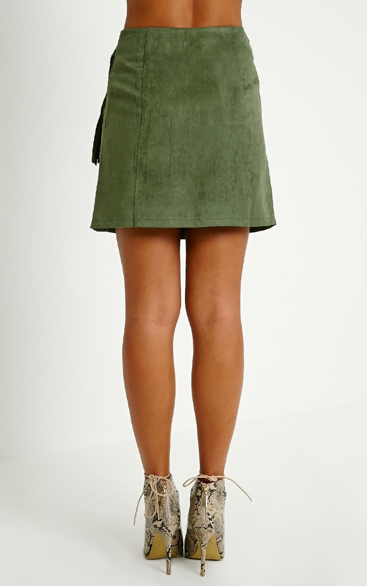 Mariette Khaki Faux Suede Tassel Skirt 4