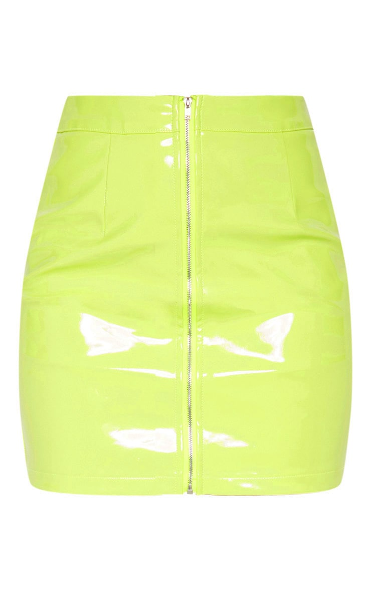 Neon Lime Vinyl Mini Skirt 3