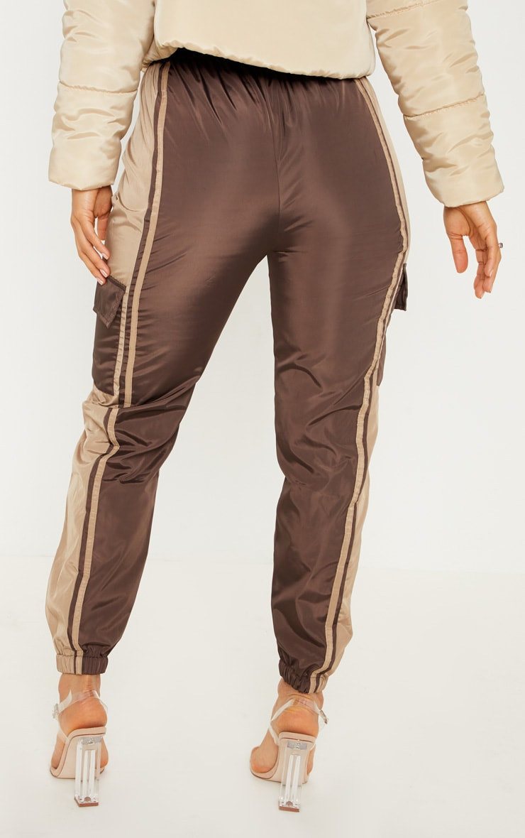 Chocolate Contrast Panel Pocket Shell Jogger 4