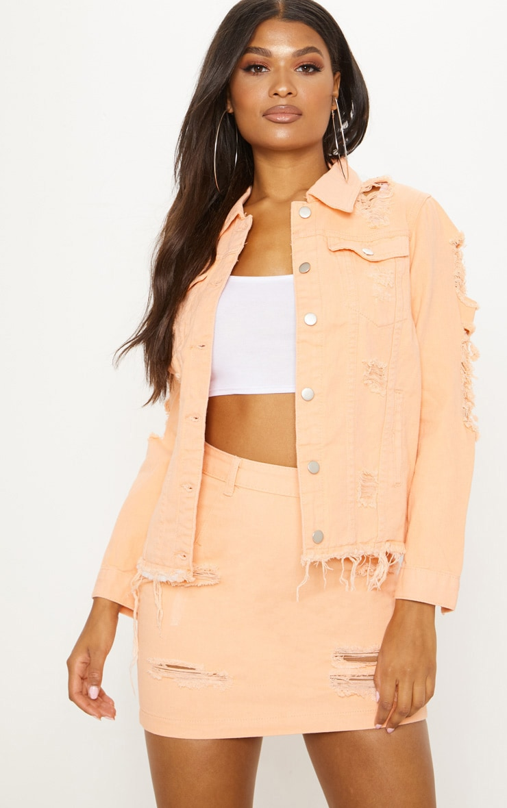 Peach Distressed Oversized Denim Jacket