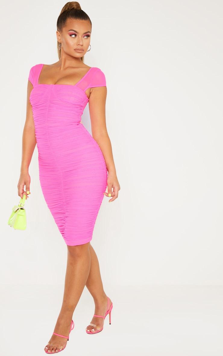 Hot Pink Mesh Ruched Midi Dress 4
