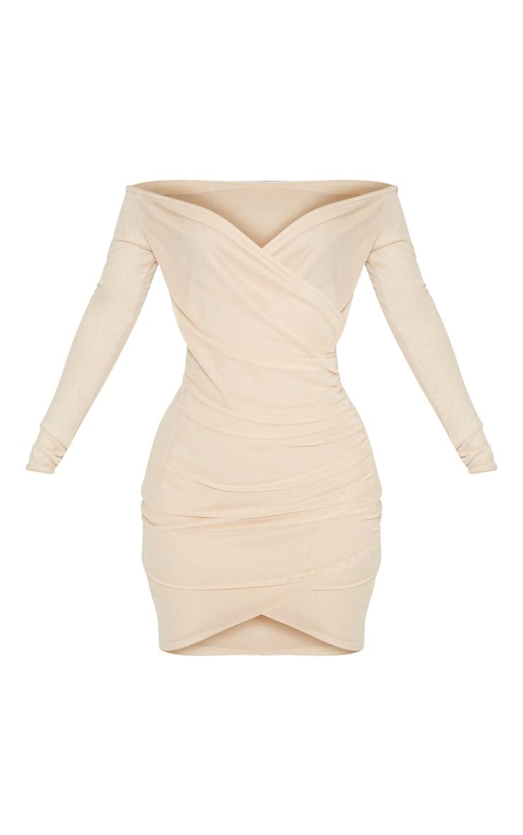 Shape Nude Mesh Ruched Bardot Bodycon Dress 3