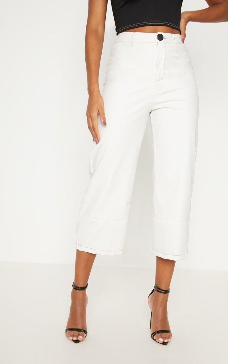 White Faux Leather Culotte 2