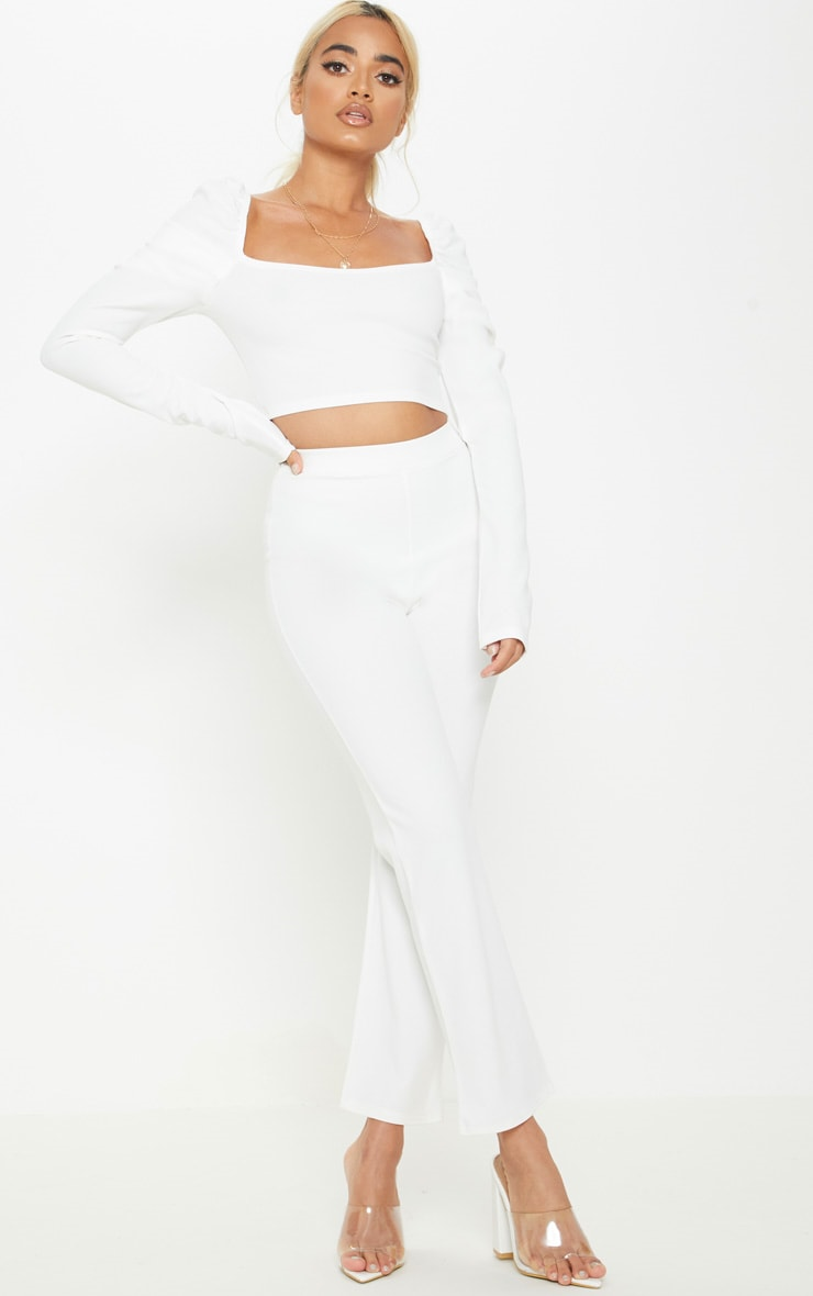 Petite White Puff Sleeve Crop Top 5