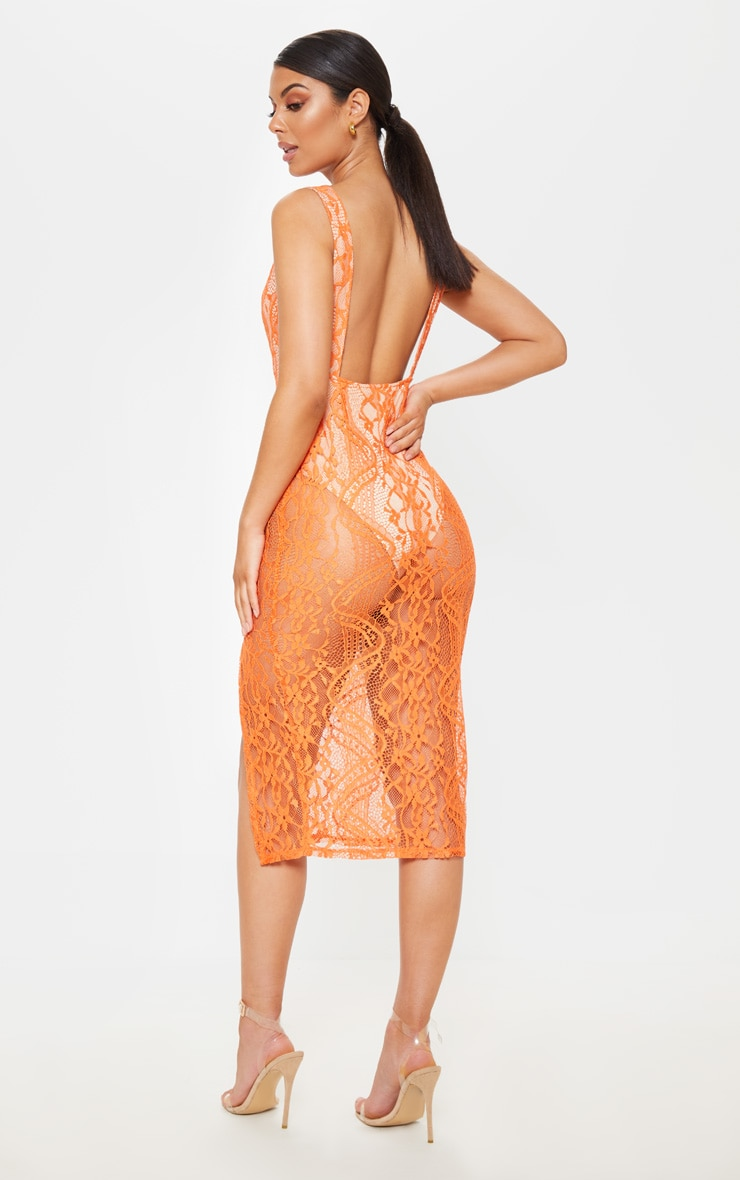 Bright Orange Lace Plunge Open Back Midi Dress 1