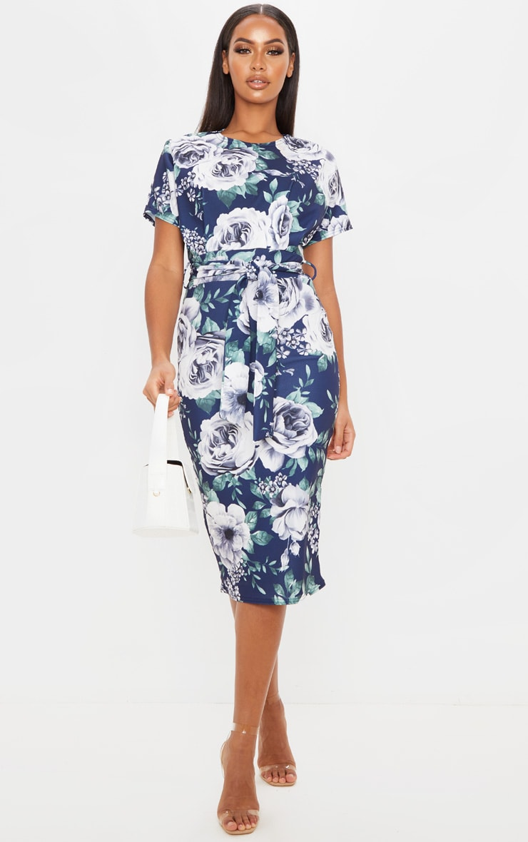 Navy Floral Print Short Sleeve Tie Waist Midi Dress 1