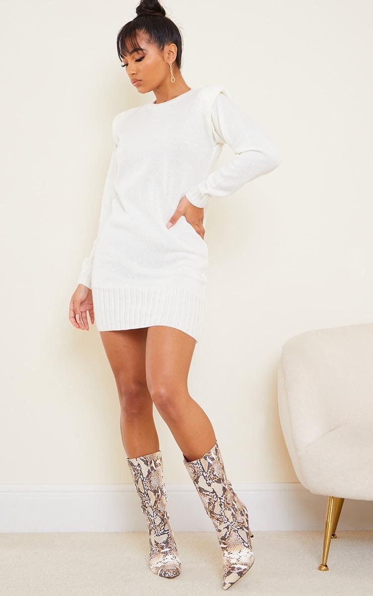 Cream Shoulder Pad Knitted Jumper Dress 3