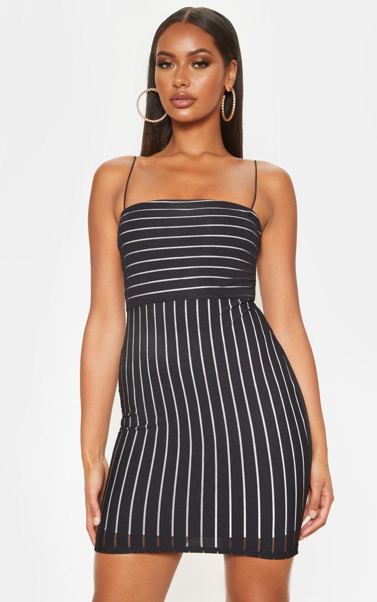 Black Striped Mesh Strappy Bodycon Dress 1