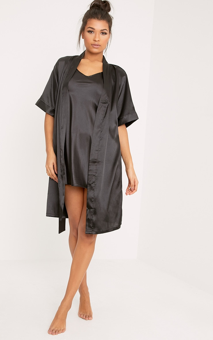 Cherrie Black Satin Nightie and Dressing Gown Set 3