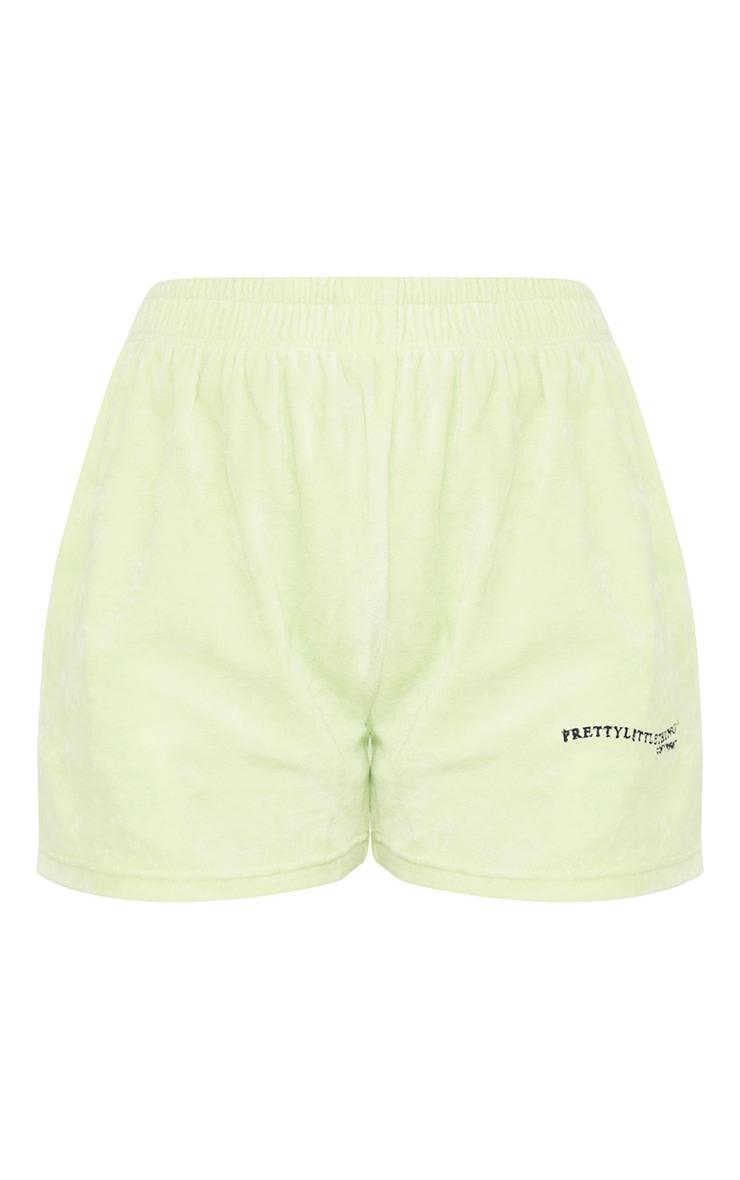 PRETTYLITTLETHING Petite Mint Velour Shorts 6