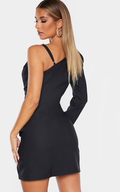 Black Asymmetric Drape Split Bodycon Dress