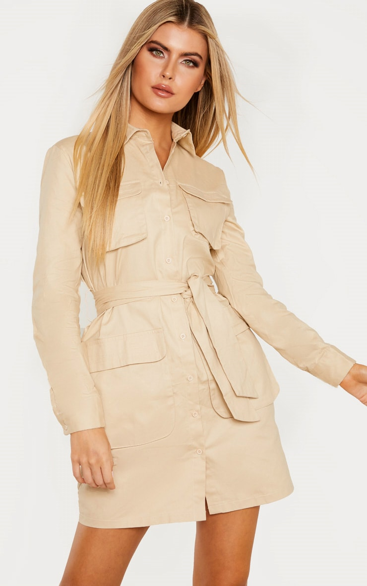 Tall Cream Utility Tie Waist Shirt Dress 1
