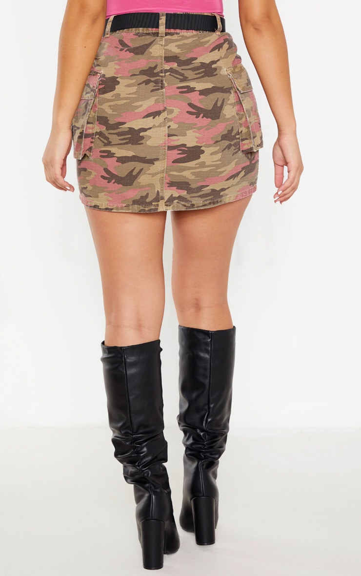 Camo Belted Denim Skirt 4