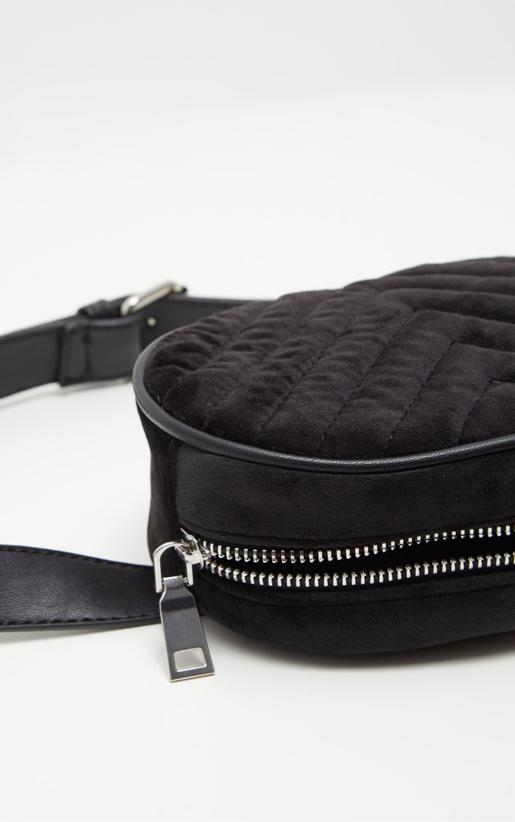 Black Velvet Chevron Quilted Bum Bag 6