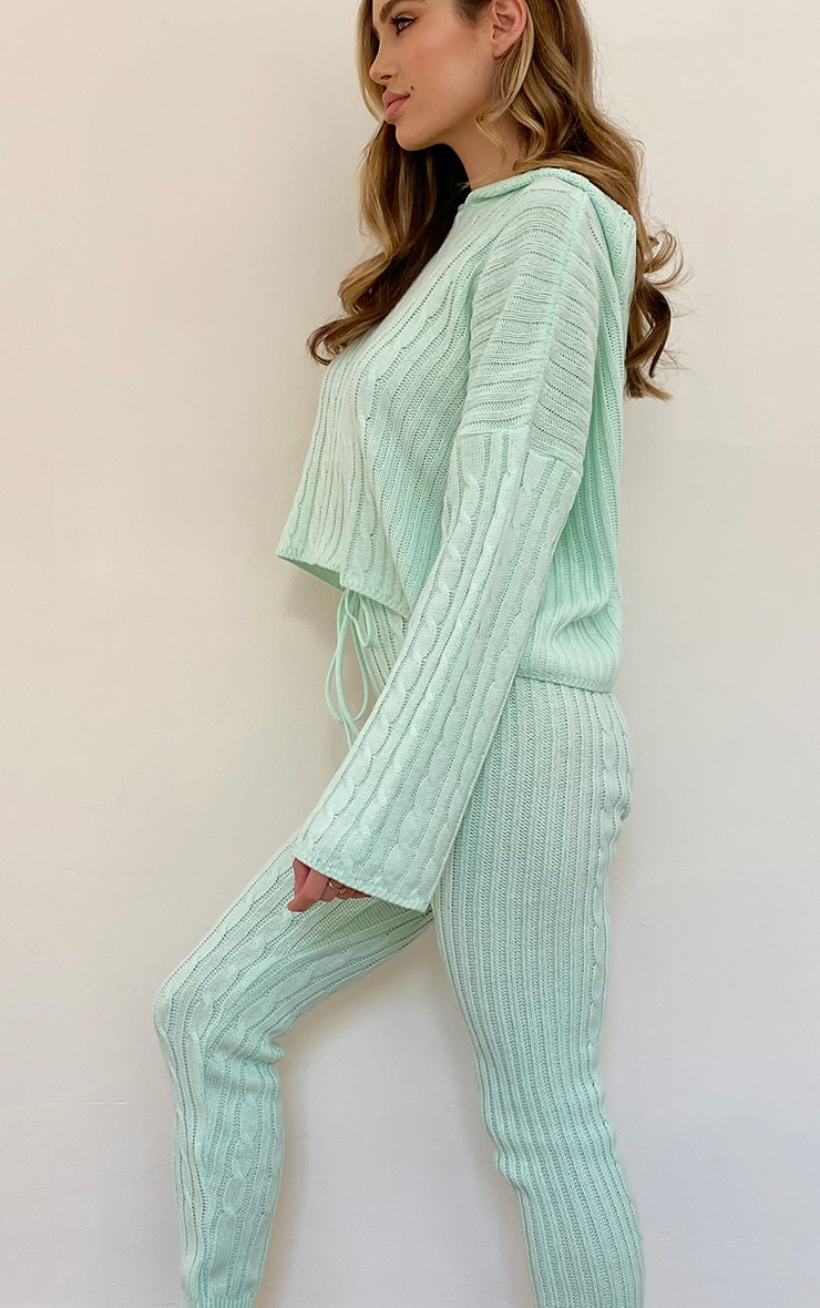 Mint Cable Knitted Hooded Lounge Set 4