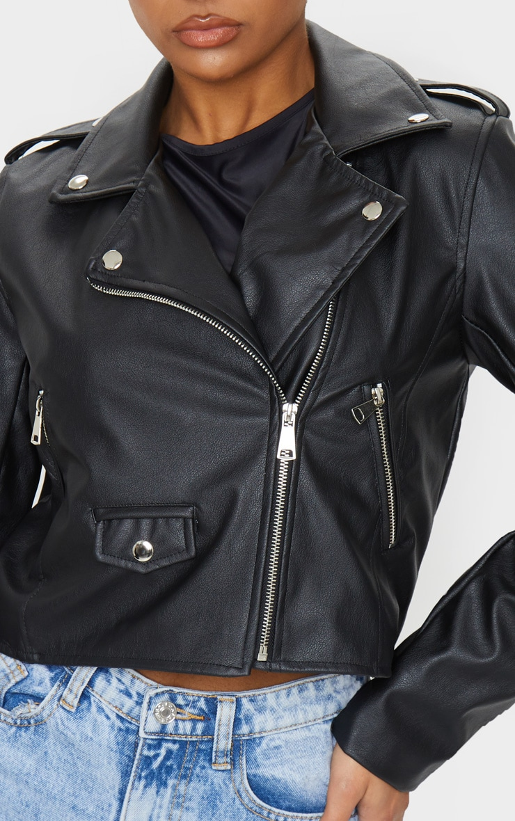 Black PU Biker Jacket With Zips  4