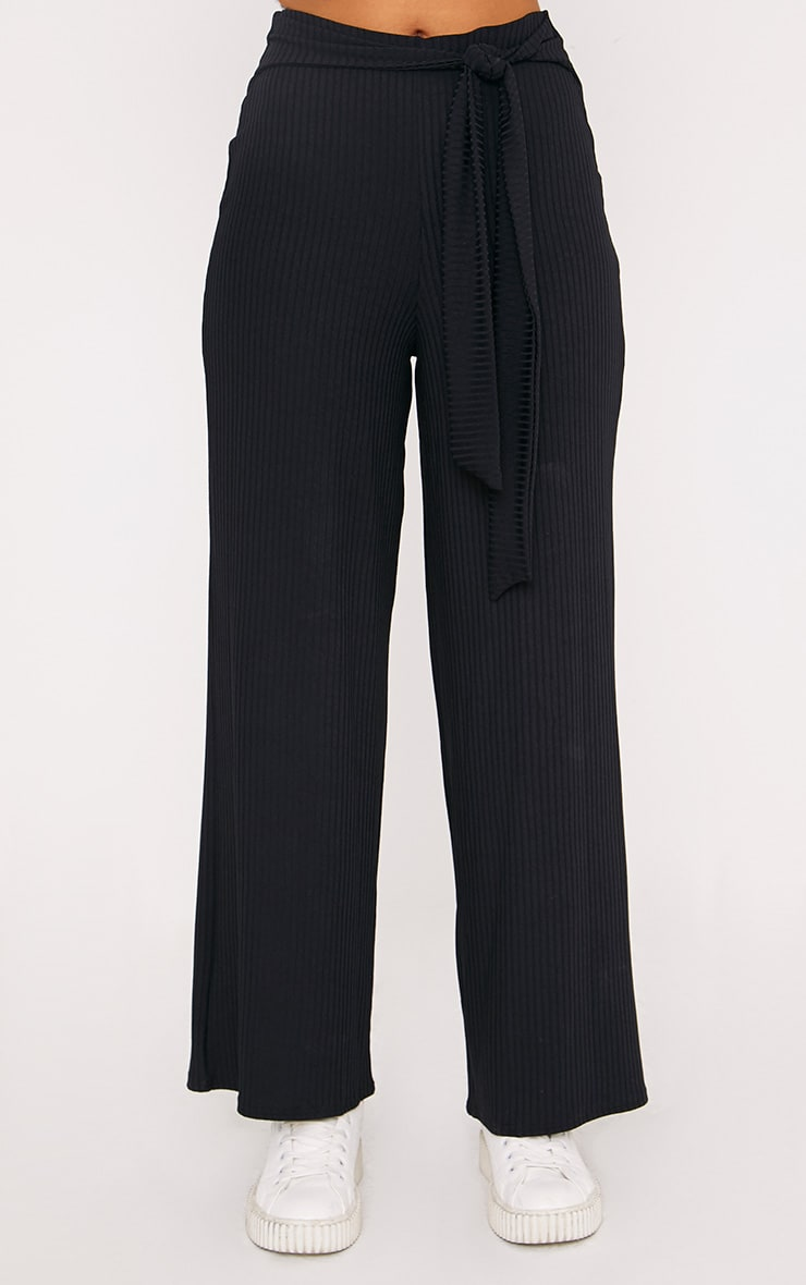 Karrah Black Wide Leg Tie Front Ribbed Pants 2