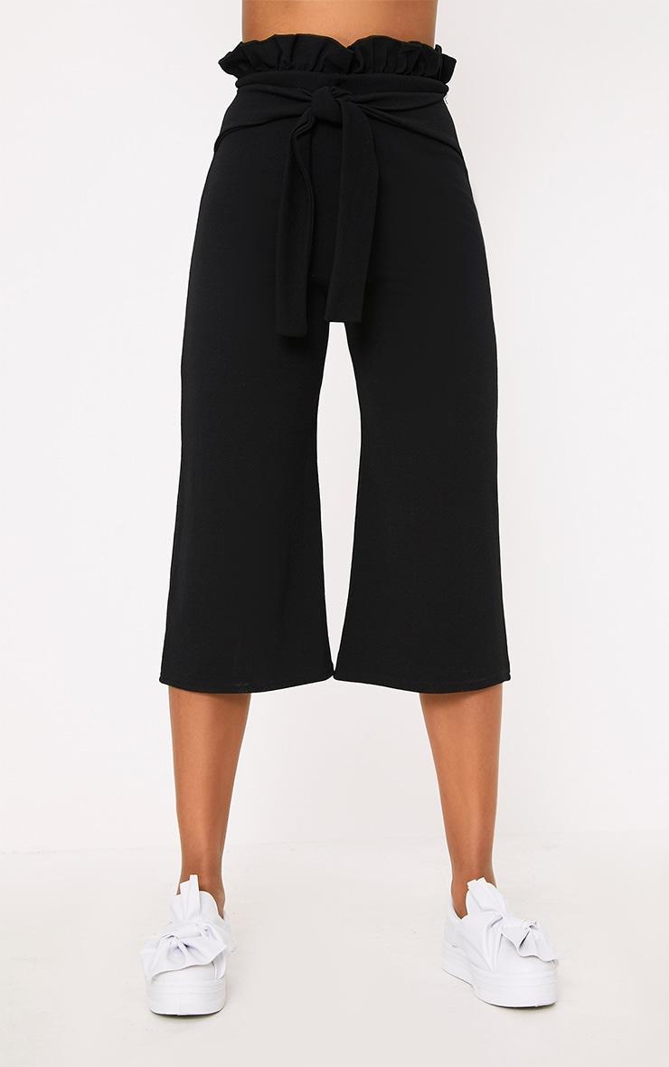 Jupe-culotte noire froncée 2