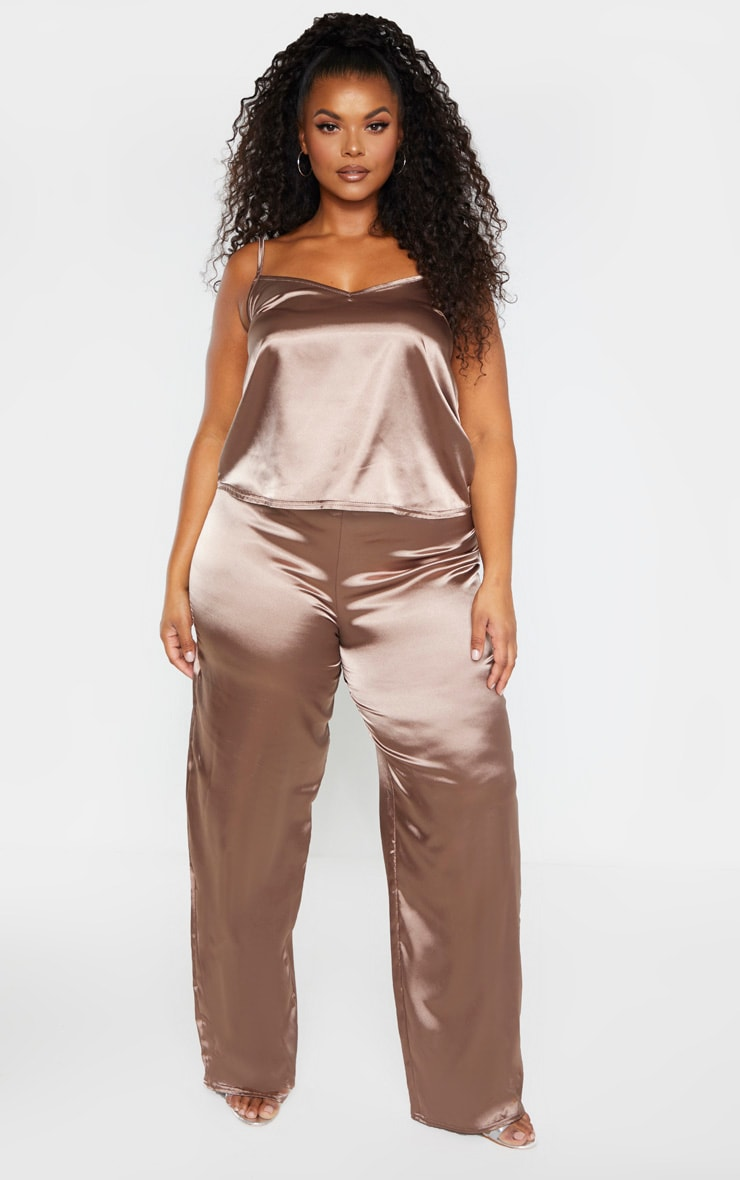 Plus Mocha Satin Drawstring Wide Leg Trouser  1