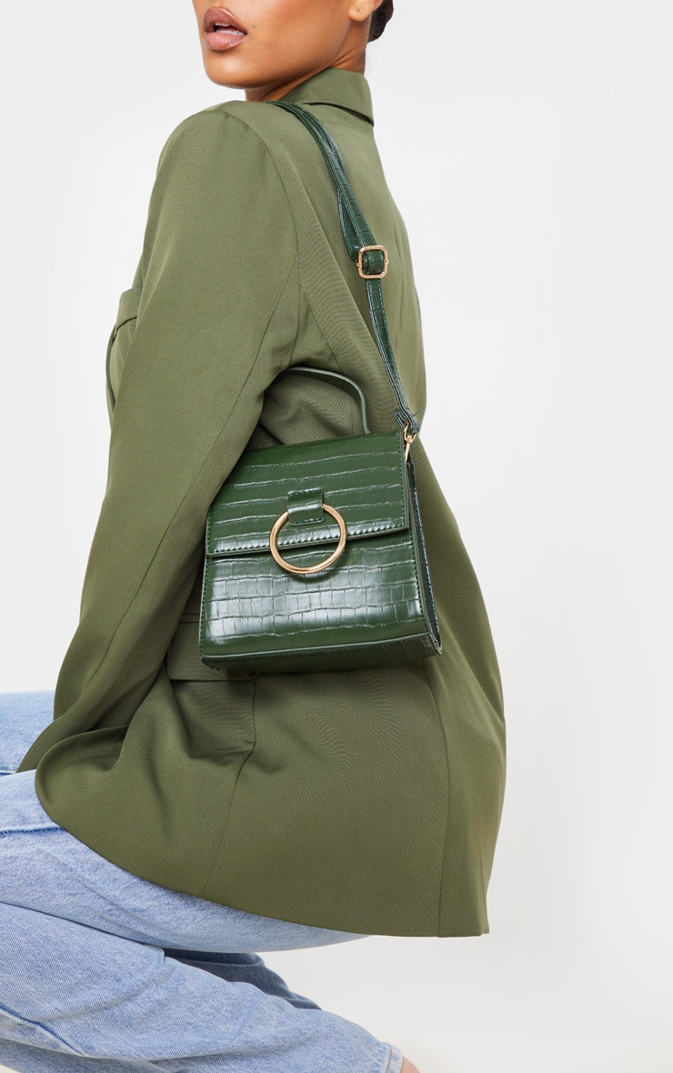 Forest Green Ring Detail Bag 1
