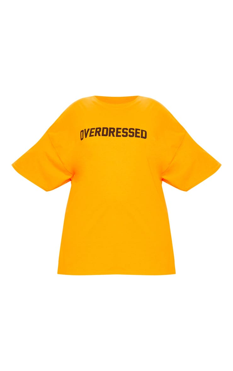 Plus Orange Overdressed Slogan T Shirt 3