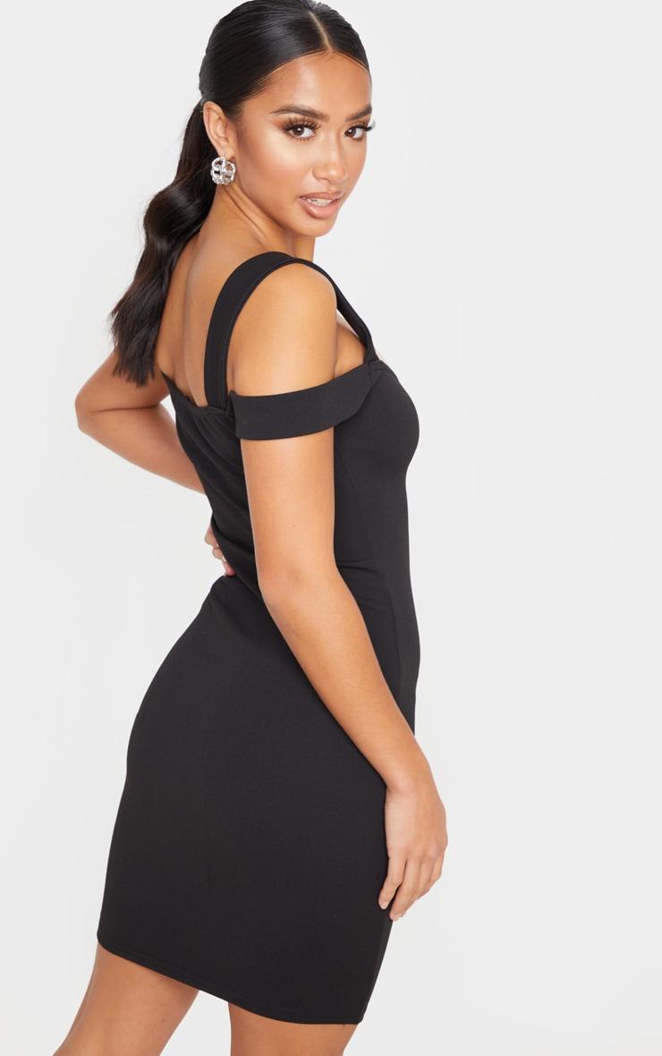 Petite Black Strappy Bardot Mini Dress  2