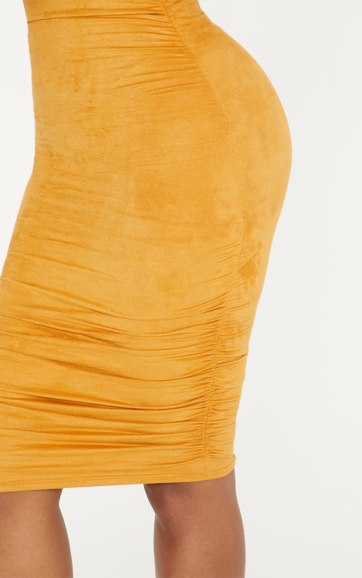 Shape Mustard Faux Suede Ruched Midi Dress 5