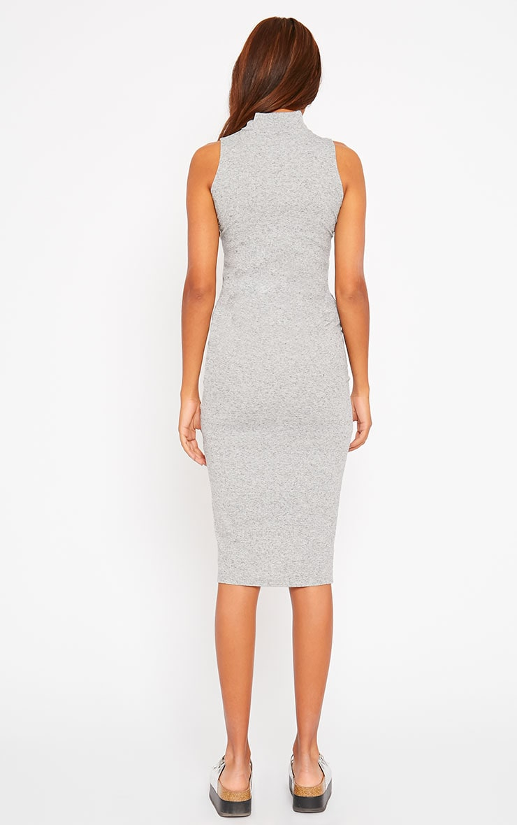 Basic Grey High Neck Dress 3