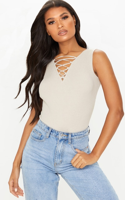Stone Lace Up Knitted Body