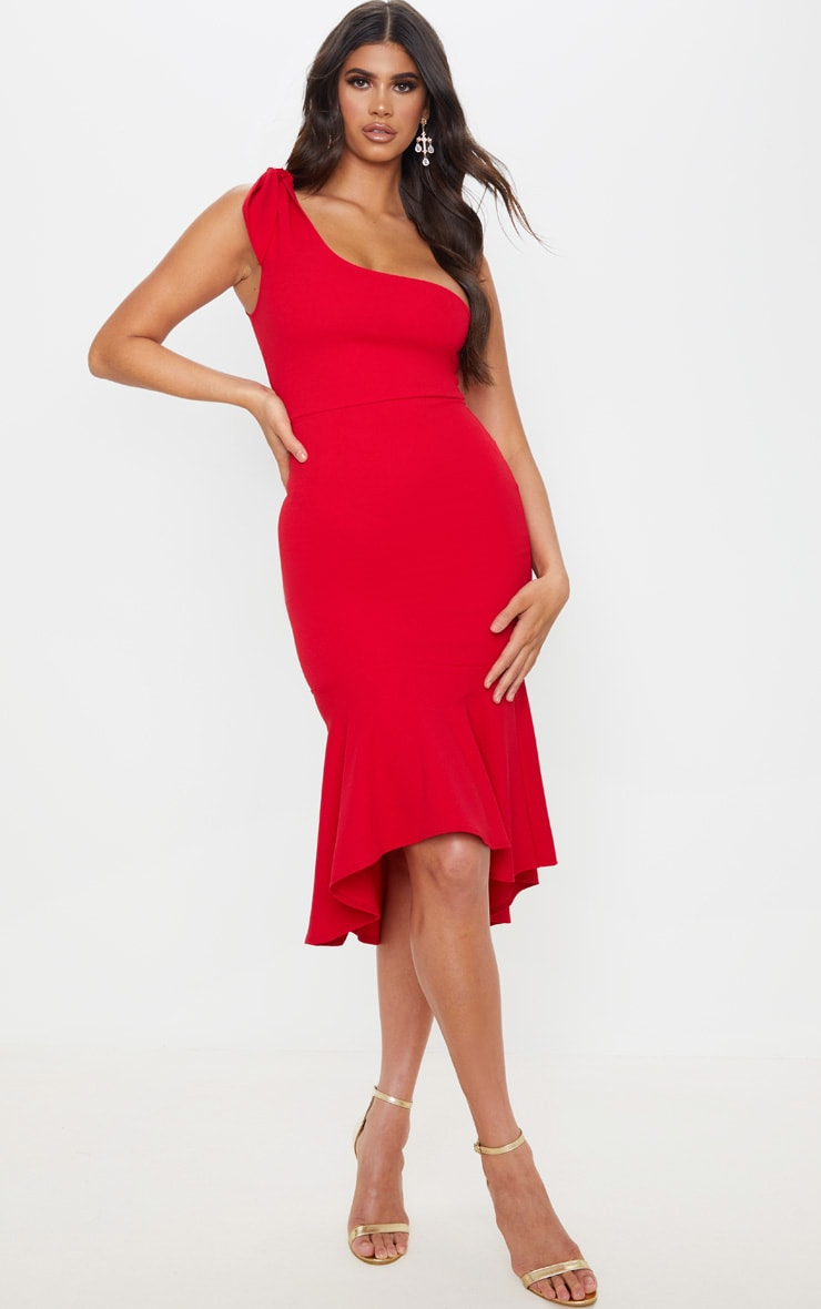 Red Tie Shoulder Asymmetric Hem Midi Dress 1