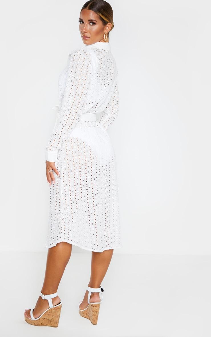 White Broderie Tie Waist Beach Dress 2