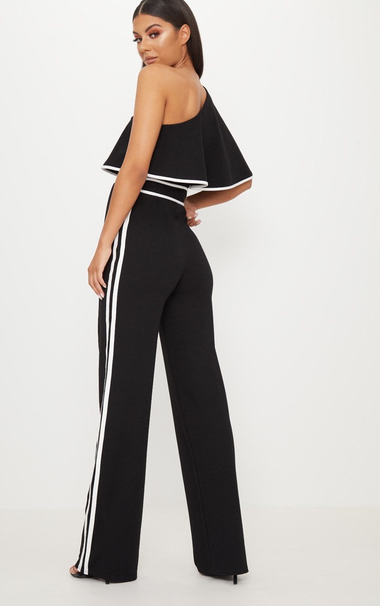 Black One Shoulder Contrast Binding Jumpsuit 2