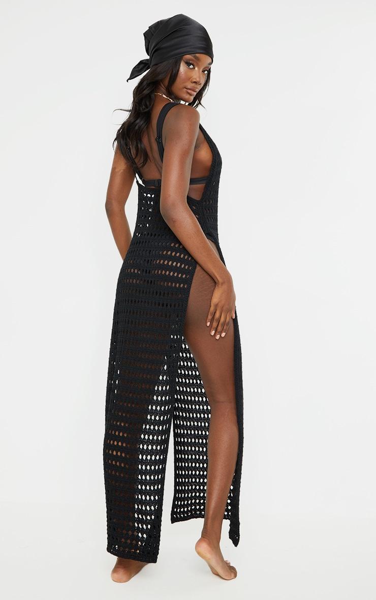 Tall Black Crochet High Split Maxi Dress 2