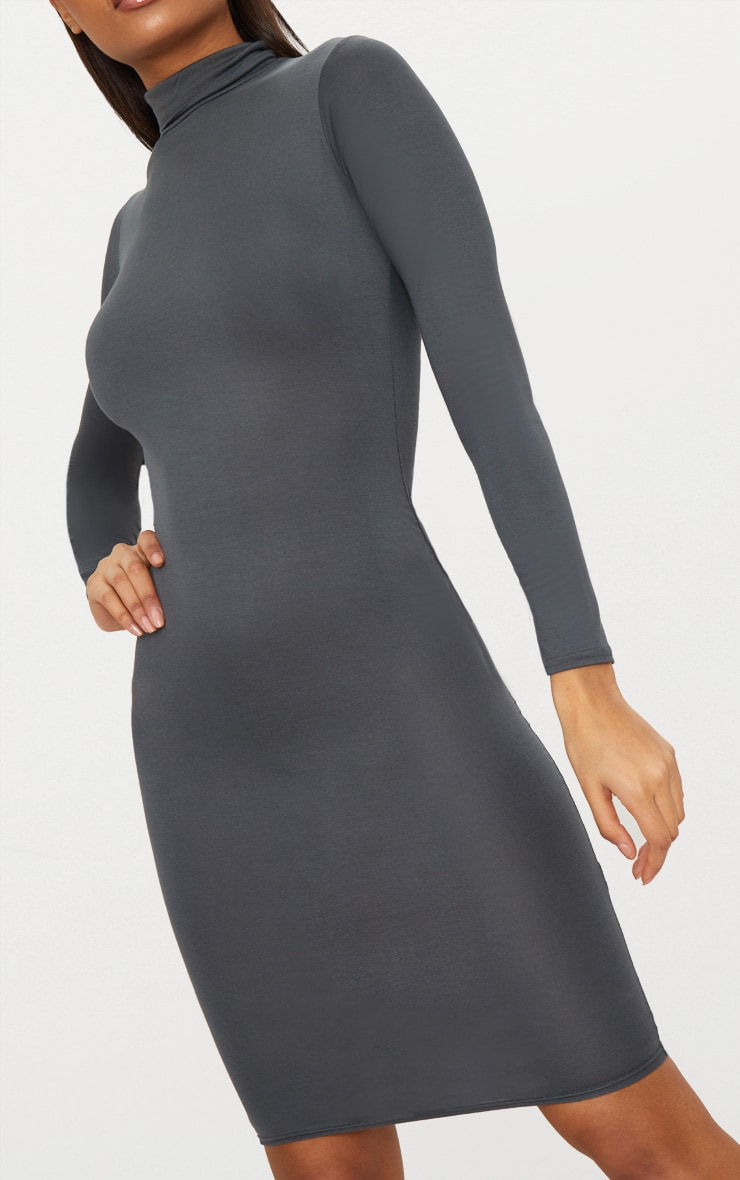 Basic Charcoal Grey Roll Neck Midi Dress 5