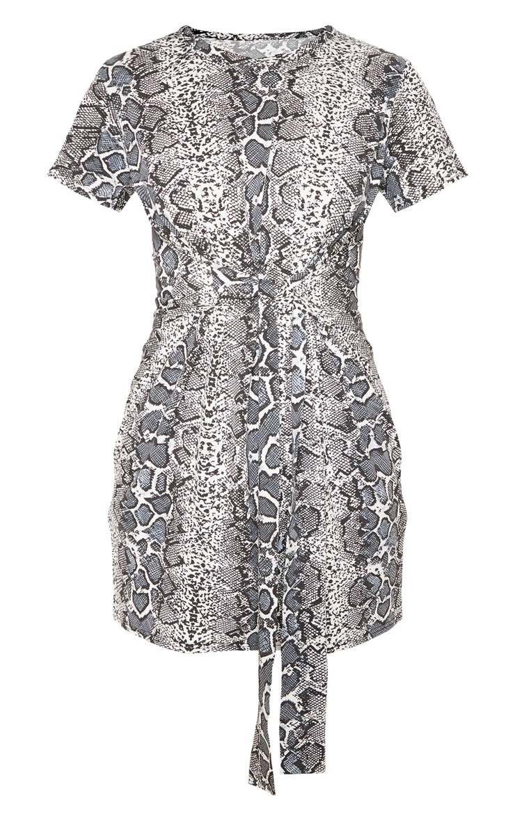 Grey Snake Print Tie Waist T Shirt Dress 3